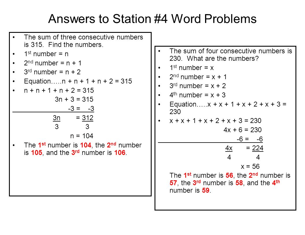 Answers to Station #4 Word Problems