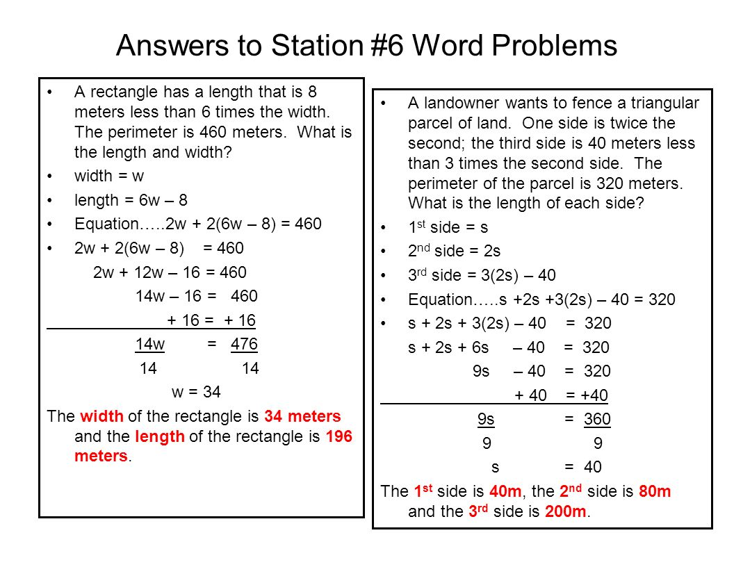 Answers to Station #6 Word Problems