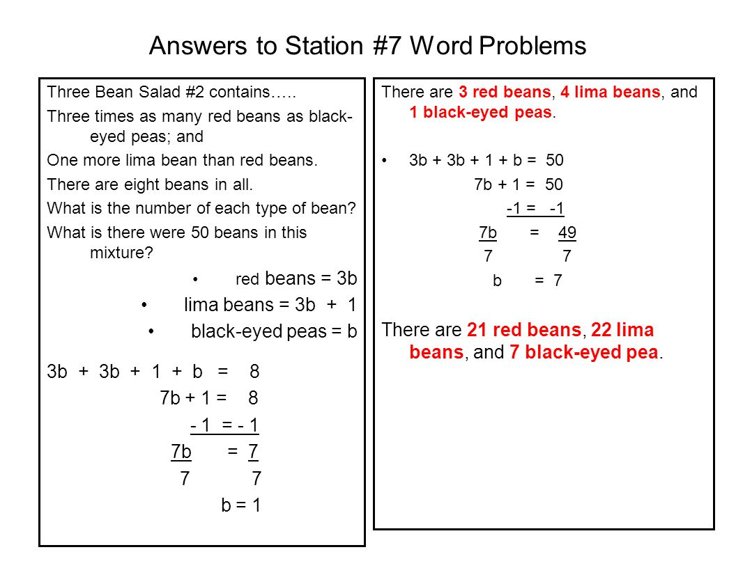 Answers to Station #7 Word Problems