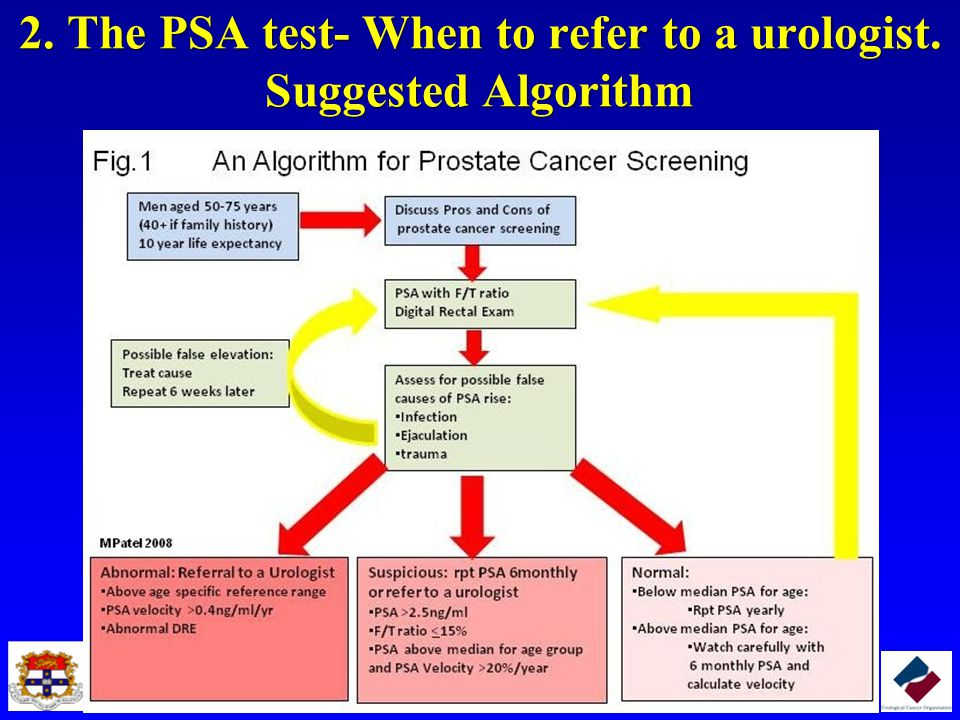 2. The PSA test- When to refer to a urologist. Suggested Algorithm