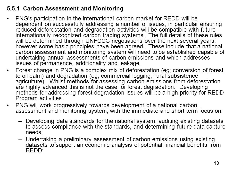 5.5.1 Carbon Assessment and Monitoring