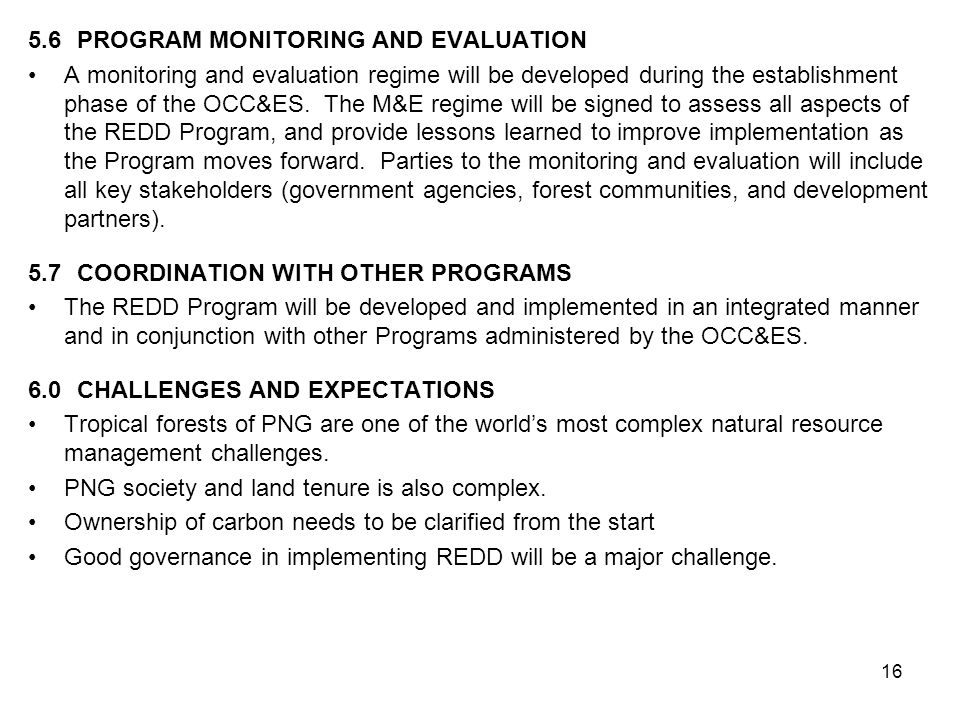 5.6 PROGRAM MONITORING AND EVALUATION