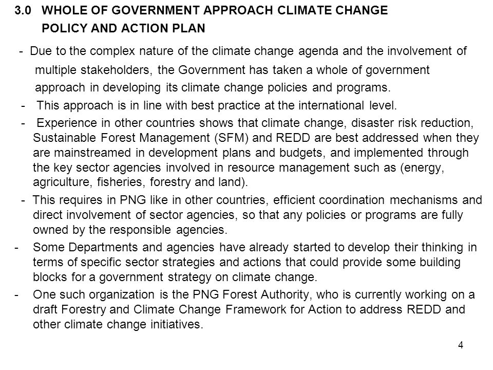 3.0 WHOLE OF GOVERNMENT APPROACH CLIMATE CHANGE