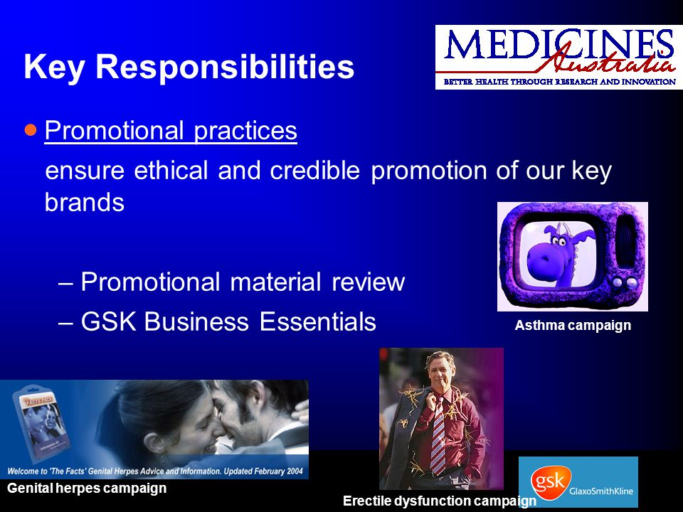 Key Responsibilities Promotional practices