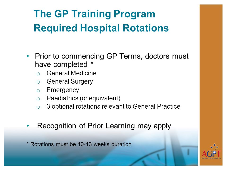 The GP Training Program Required Hospital Rotations
