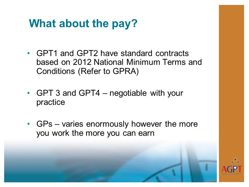 What about the pay GPT1 and GPT2 have standard contracts based on 2012 National Minimum Terms and Conditions (Refer to GPRA)
