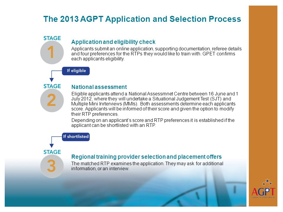 The 2013 AGPT Application and Selection Process