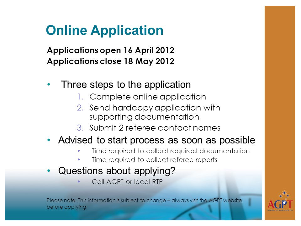 Online Application Three steps to the application