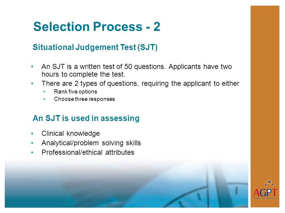 Selection Process - 2 Situational Judgement Test (SJT)