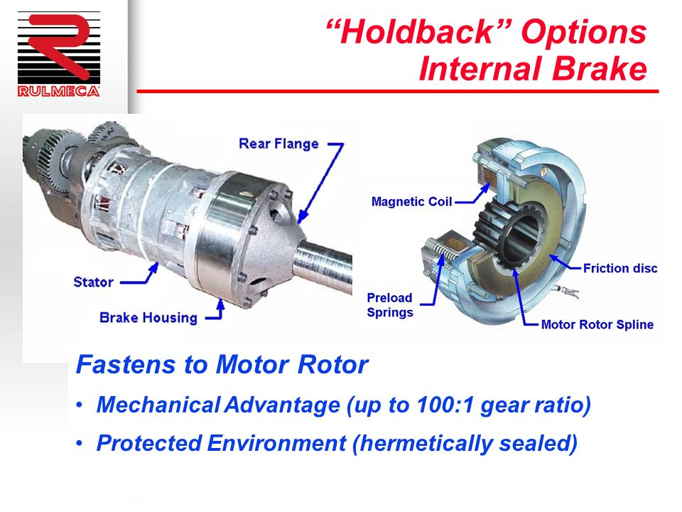 Holdback Options Internal Brake Fastens to Motor Rotor