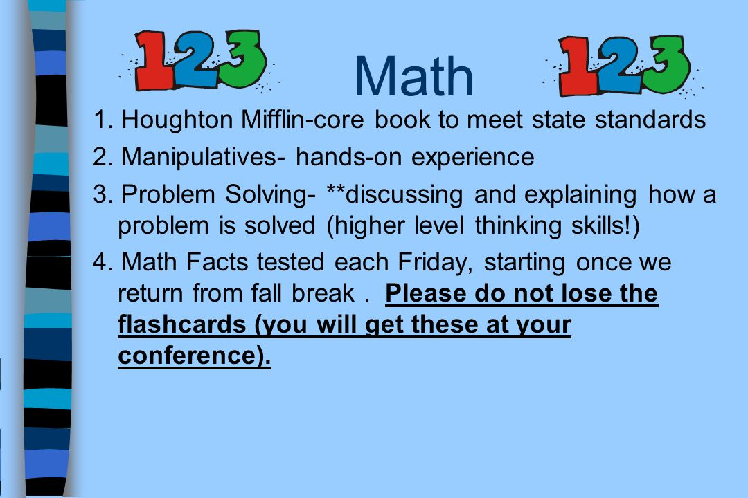 Math 1. Houghton Mifflin-core book to meet state standards