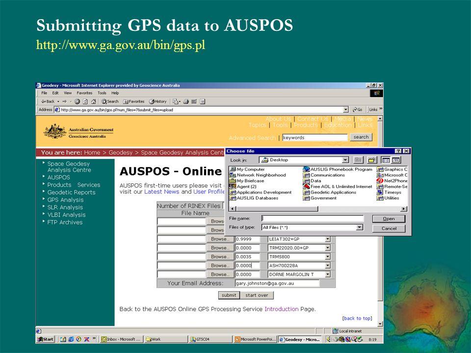 Submitting GPS data to AUSPOS