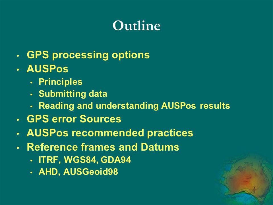 Outline GPS processing options AUSPos GPS error Sources