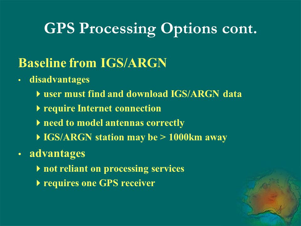 GPS Processing Options cont.