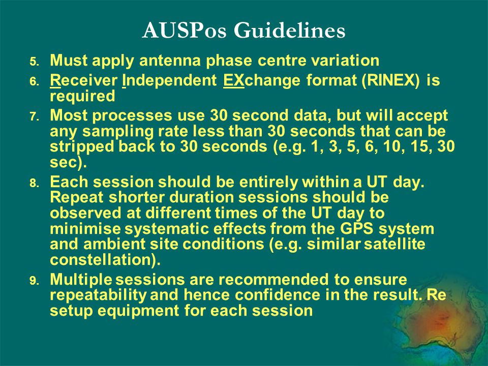 AUSPos Guidelines Must apply antenna phase centre variation