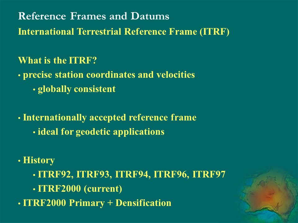 Reference Frames and Datums