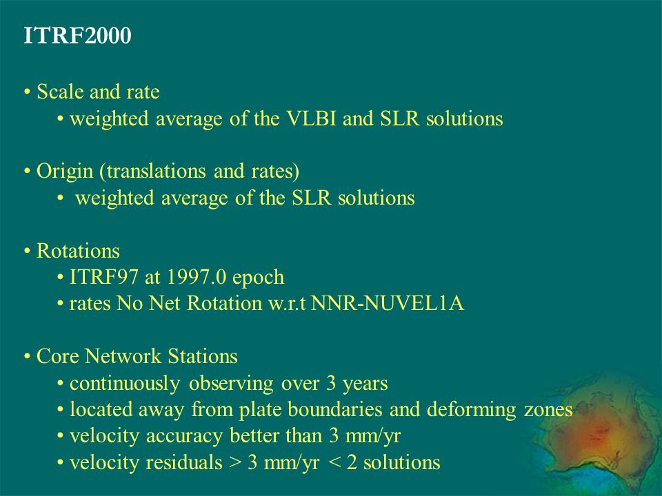 ITRF2000 Scale and rate weighted average of the VLBI and SLR solutions