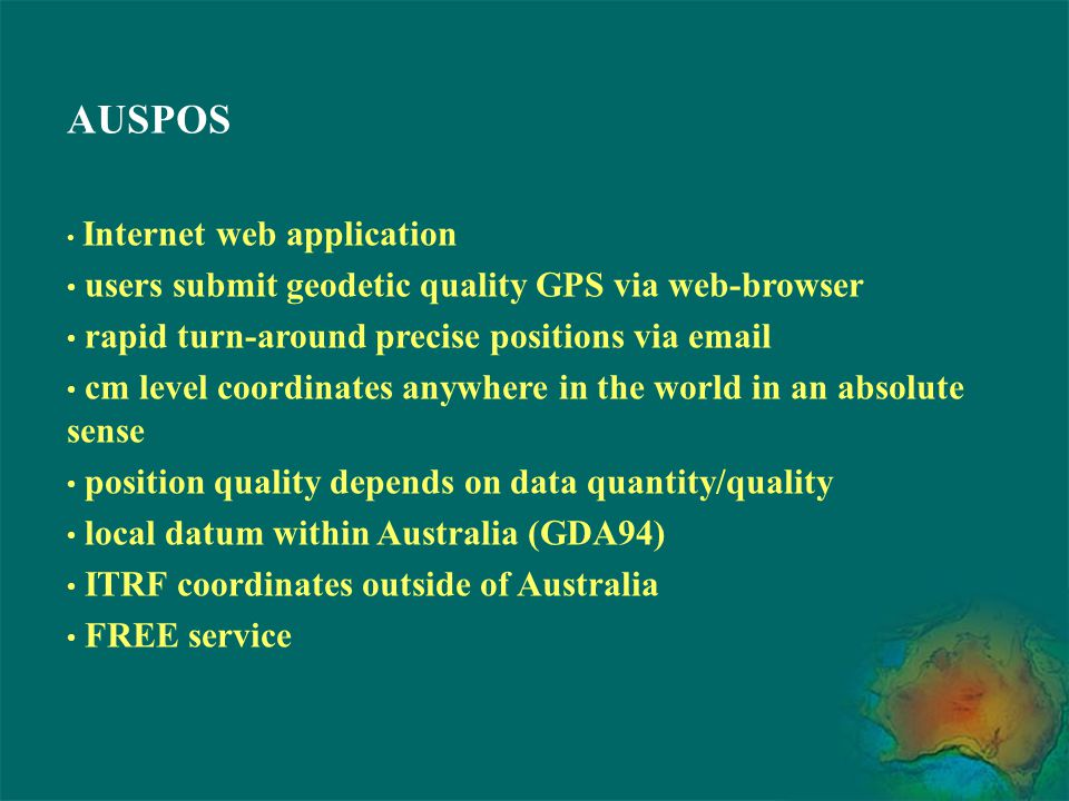 AUSPOS users submit geodetic quality GPS via web-browser