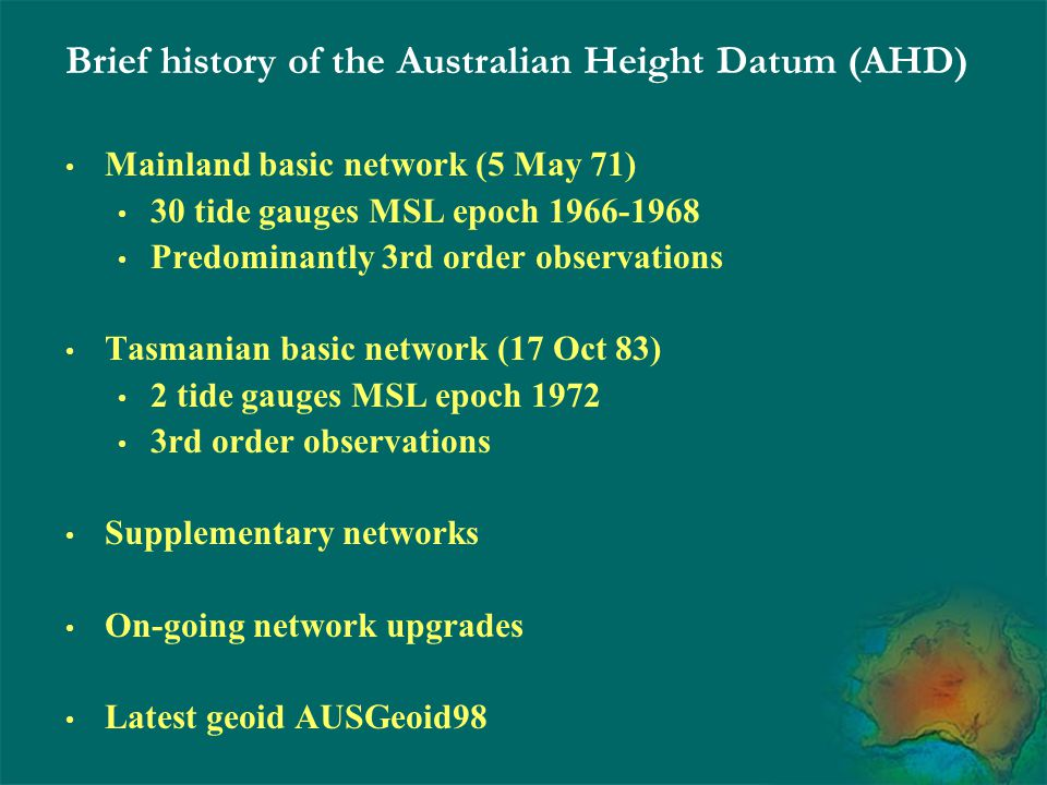Brief history of the Australian Height Datum (AHD)