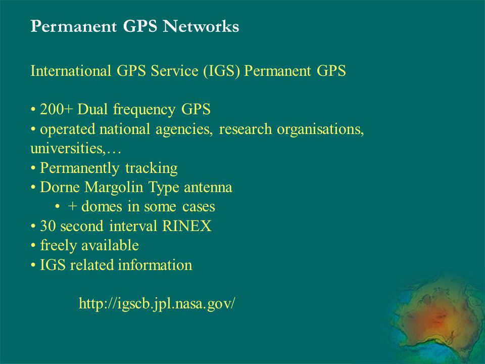 Permanent GPS Networks