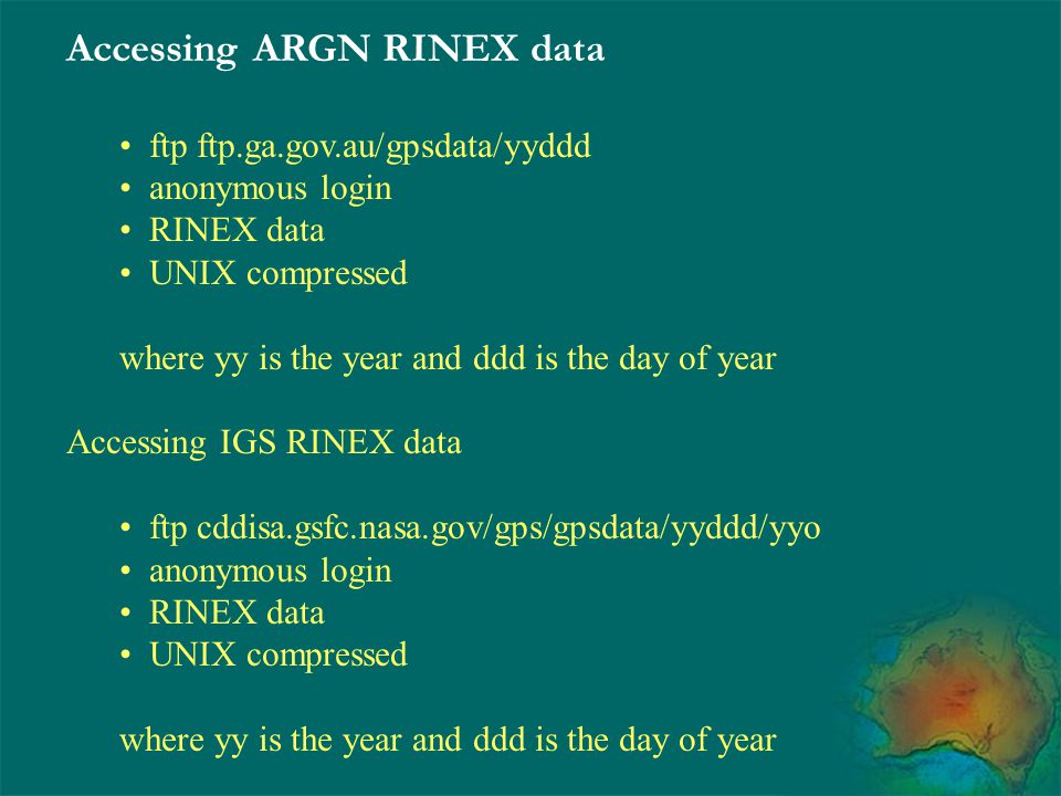 Accessing ARGN RINEX data