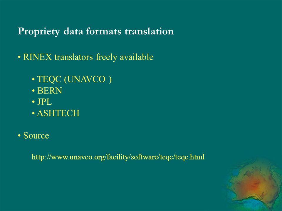 Propriety data formats translation