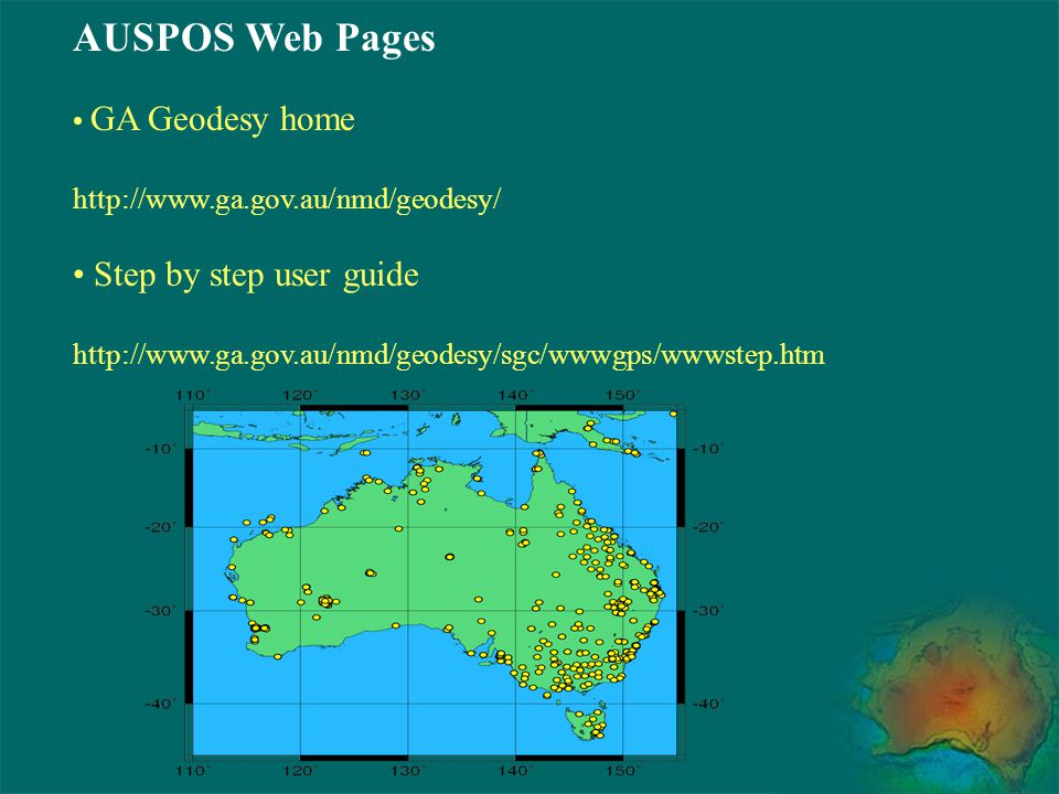 AUSPOS Web Pages Step by step user guide GA Geodesy home