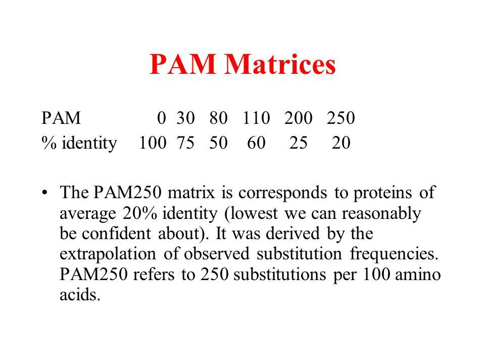 PAM Matrices PAM 0 30 80 110 200 250 % identity 100 75 50 60 25 20