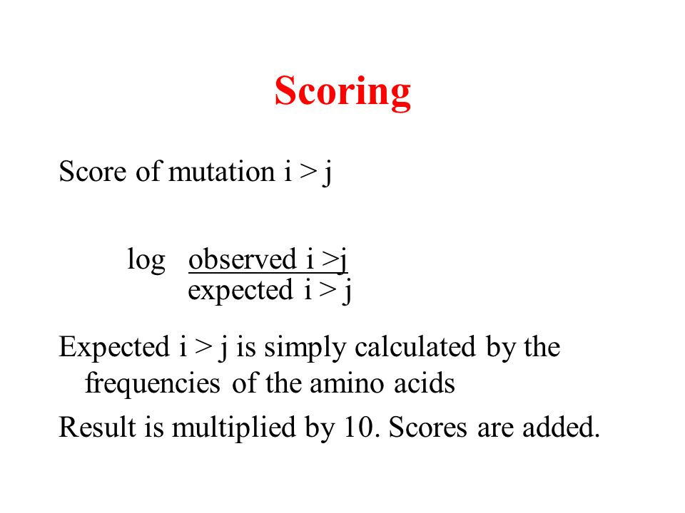 Scoring Score of mutation i > j log observed i >j