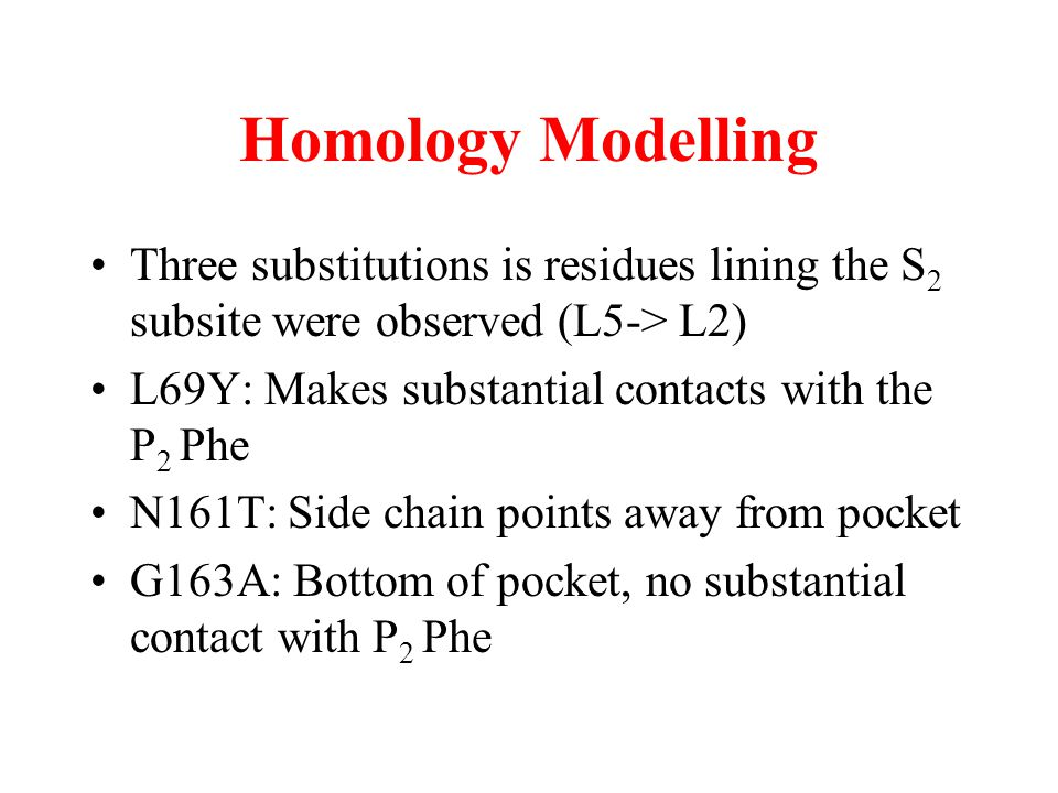 Homology Modelling Three substitutions is residues lining the S2 subsite were observed (L5-> L2) L69Y: Makes substantial contacts with the P2 Phe.