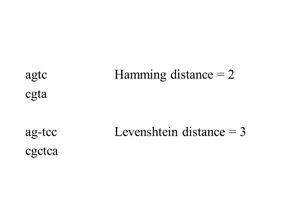 agtc Hamming distance = 2