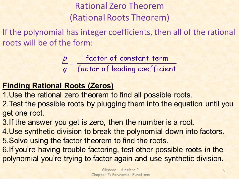 Rational Zero Theorem (Rational Roots Theorem)