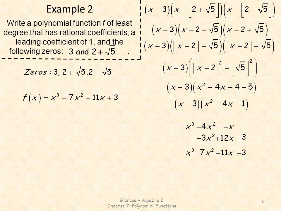 Chapter 7: Polynomial Functions