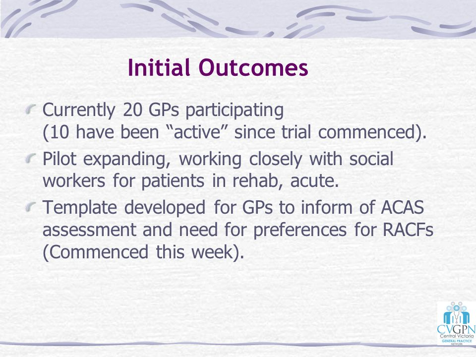 Initial Outcomes Currently 20 GPs participating (10 have been active since trial commenced).