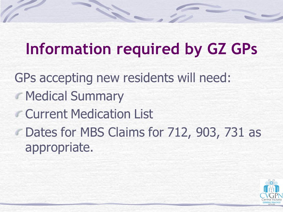 Information required by GZ GPs