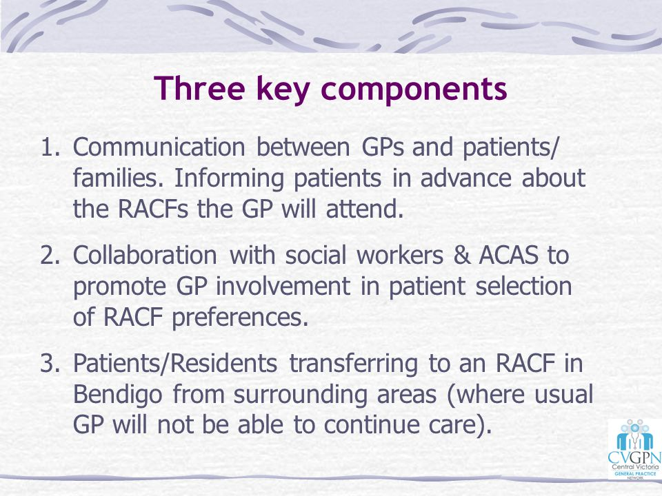 Three key components Communication between GPs and patients/ families. Informing patients in advance about the RACFs the GP will attend.