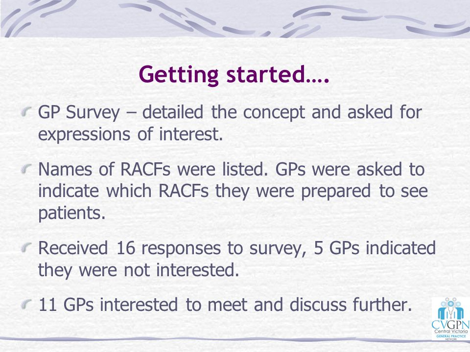 Getting started…. GP Survey – detailed the concept and asked for expressions of interest.