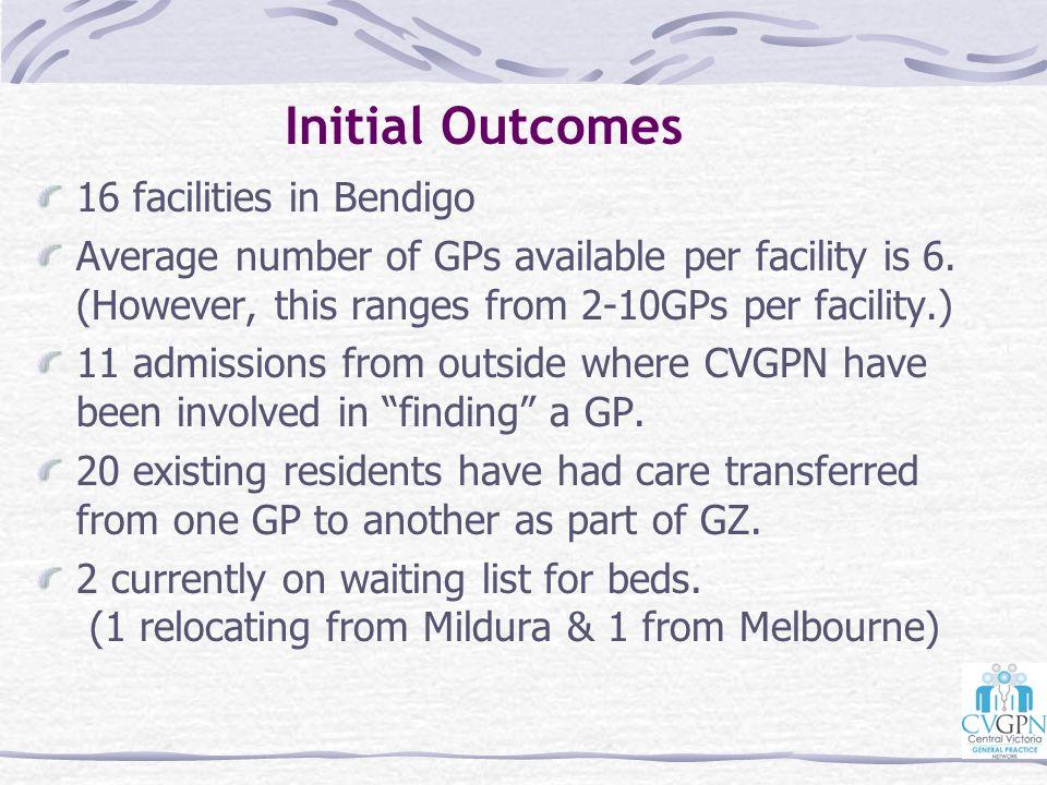Initial Outcomes 16 facilities in Bendigo
