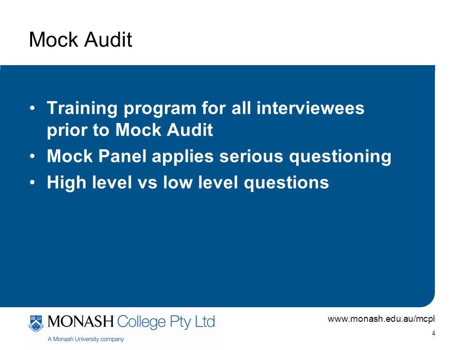 Mock Audit Training program for all interviewees prior to Mock Audit
