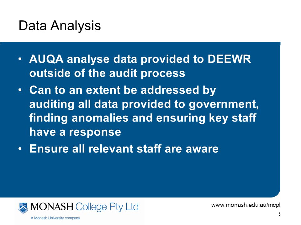 Data Analysis AUQA analyse data provided to DEEWR outside of the audit process.