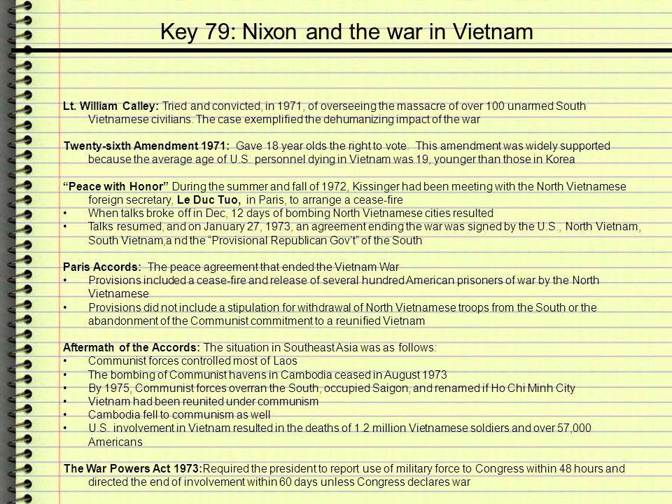 Key 79: Nixon and the war in Vietnam