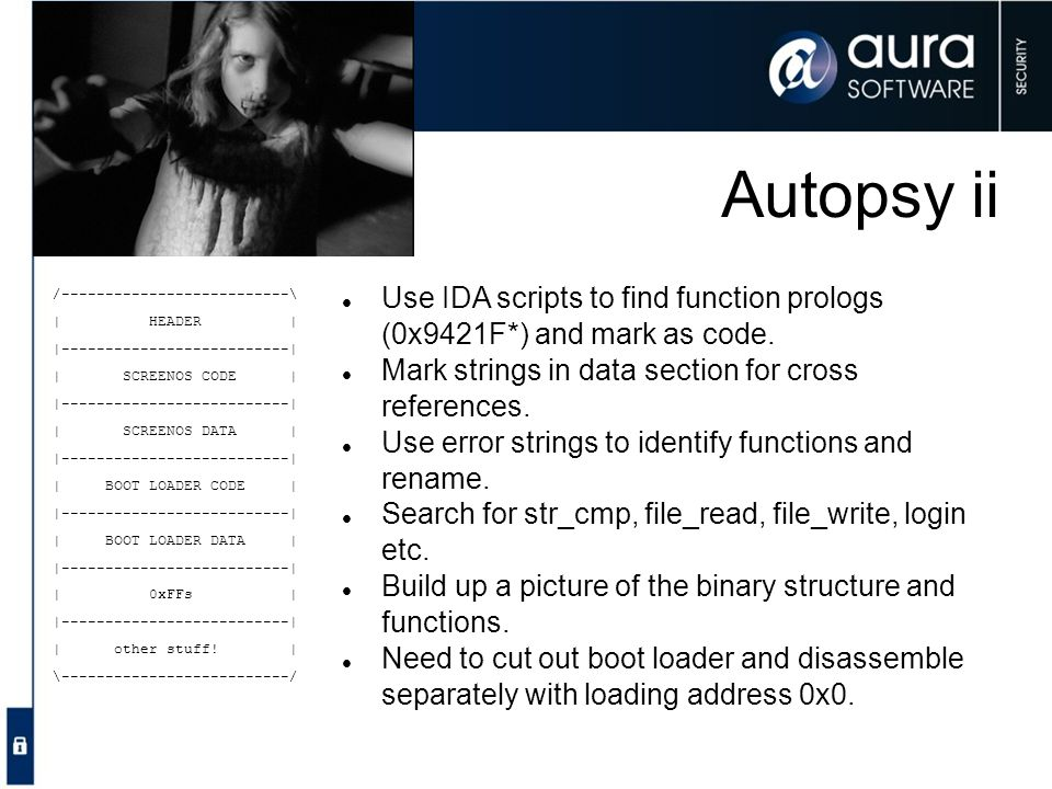 Autopsy ii Use IDA scripts to find function prologs (0x9421F*) and mark as code. Mark strings in data section for cross references.