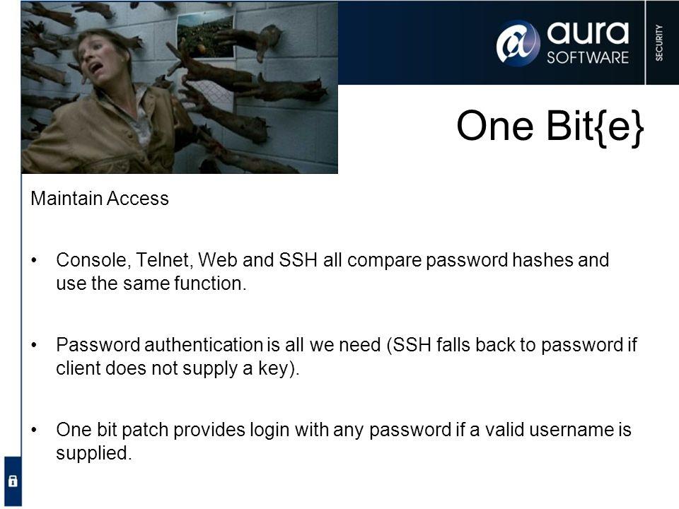One Bit{e} Maintain Access