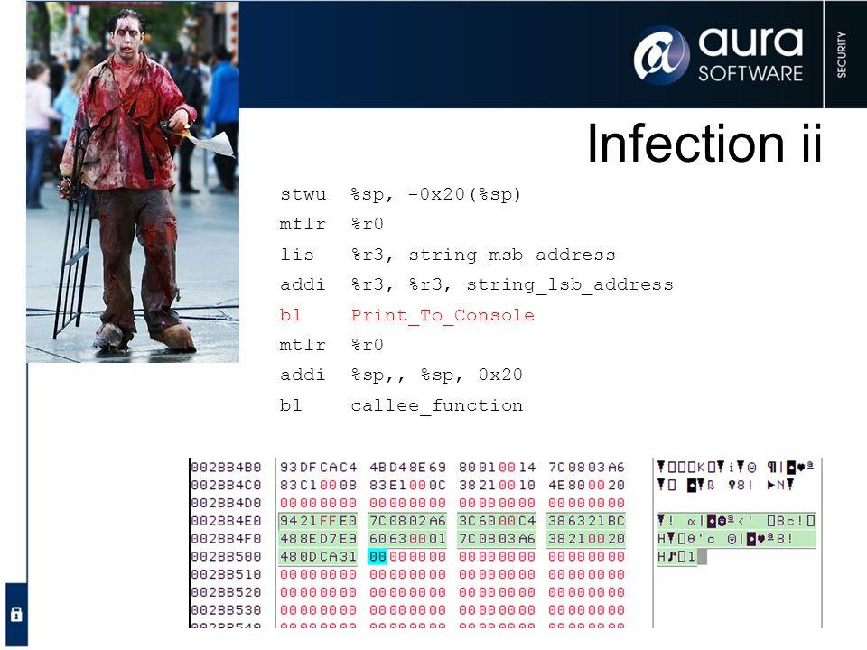 Infection ii stwu %sp, -0x20(%sp) mflr %r0