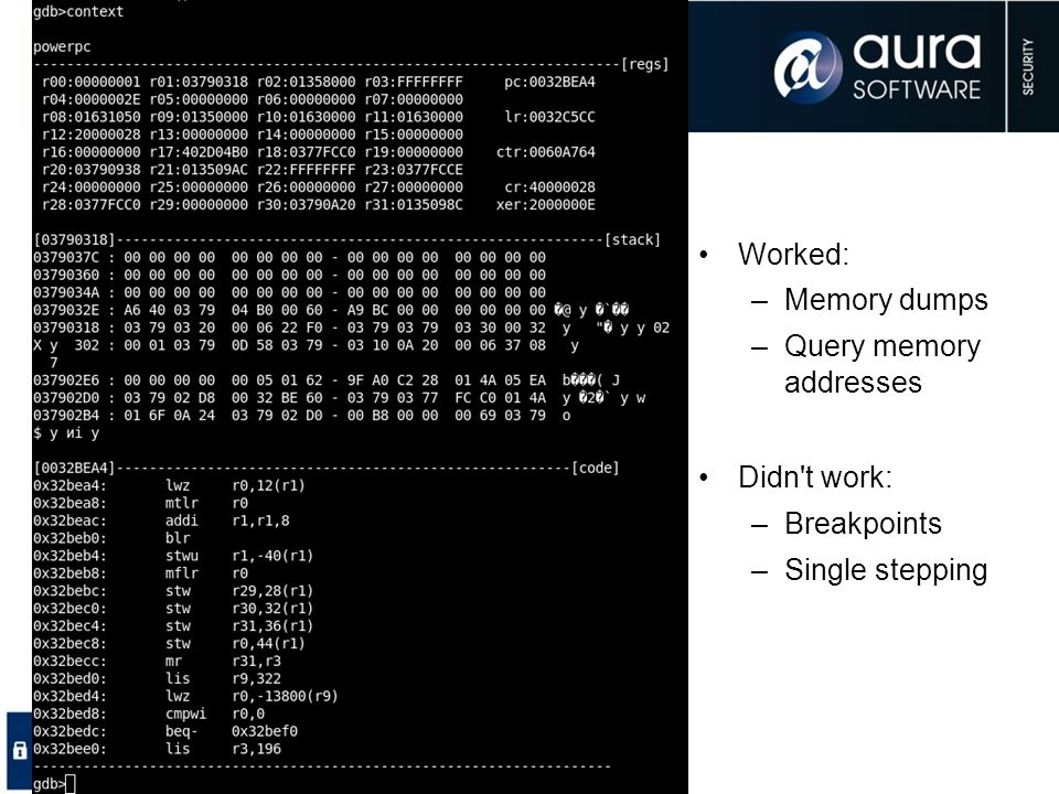 Worked: Memory dumps Query memory addresses Didn t work: Breakpoints Single stepping