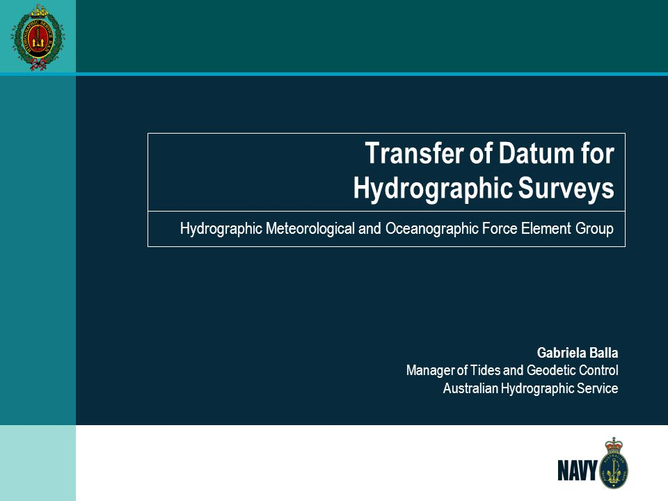 Transfer of Datum for Hydrographic Surveys