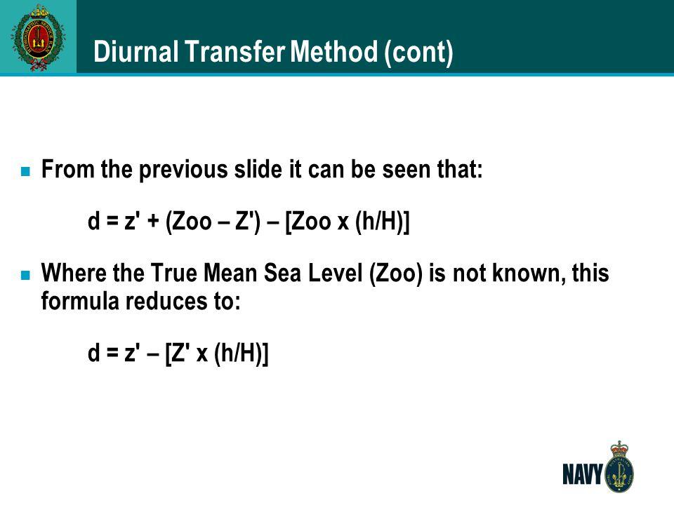 Diurnal Transfer Method (cont)