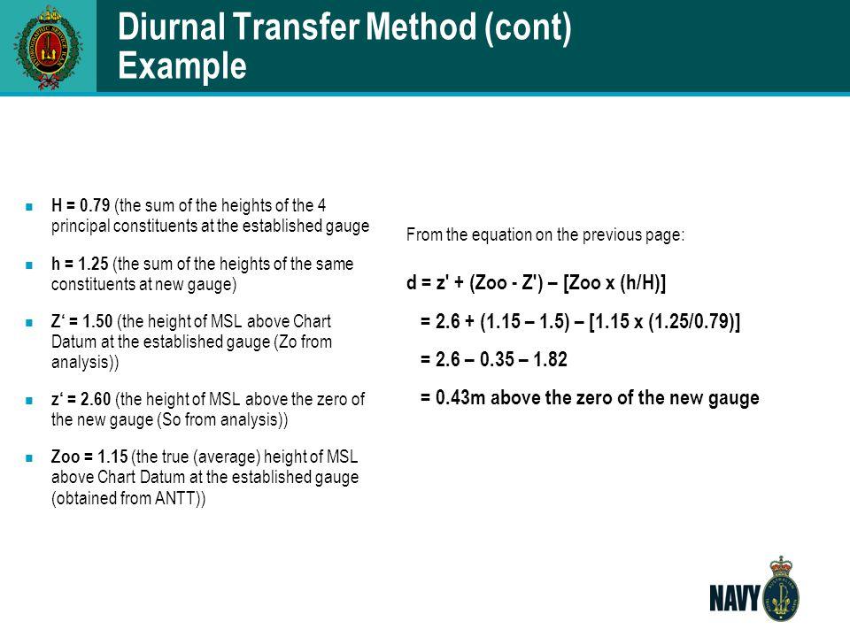 Diurnal Transfer Method (cont) Example