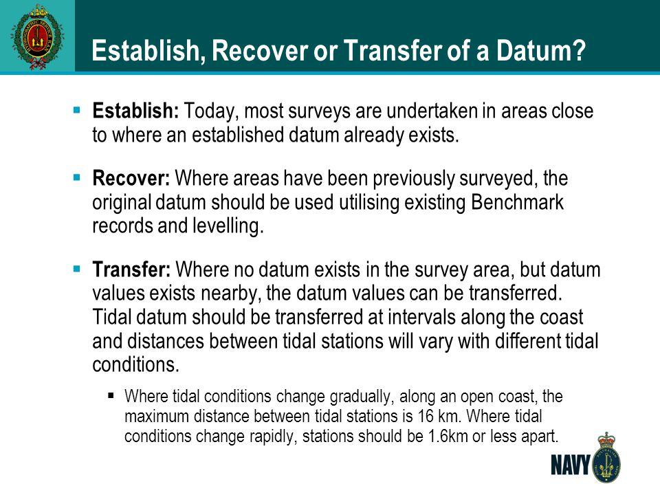Establish, Recover or Transfer of a Datum