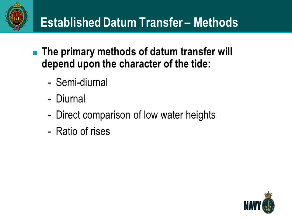 Established Datum Transfer – Methods
